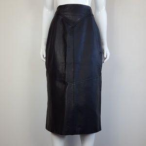 Vintage 80's Black Leather Midi Skirt